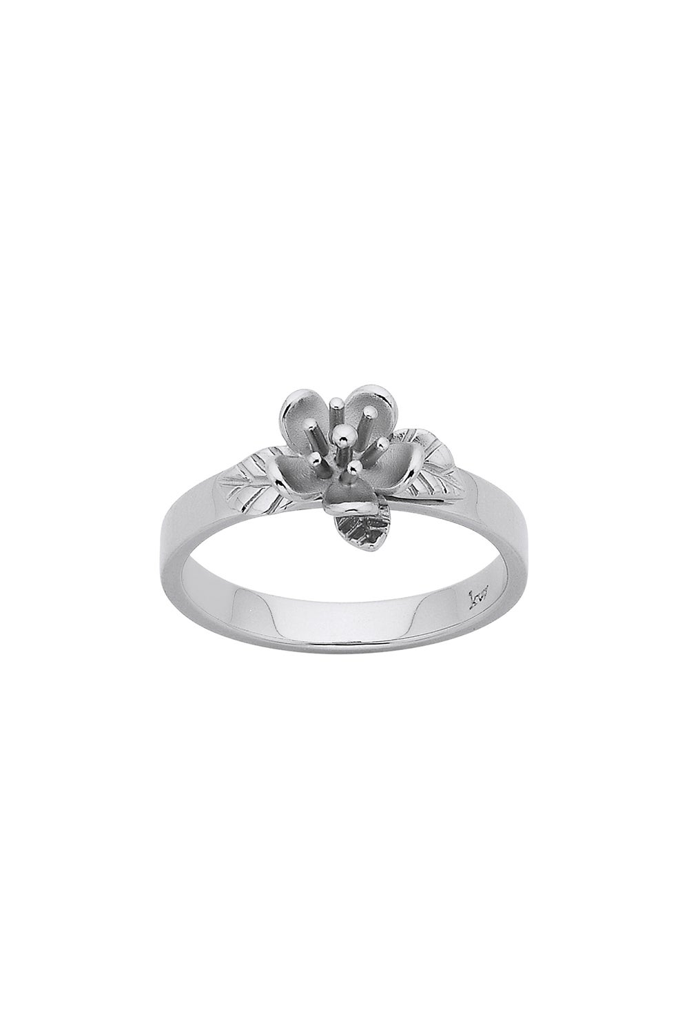 Single Flower Ring Silver
