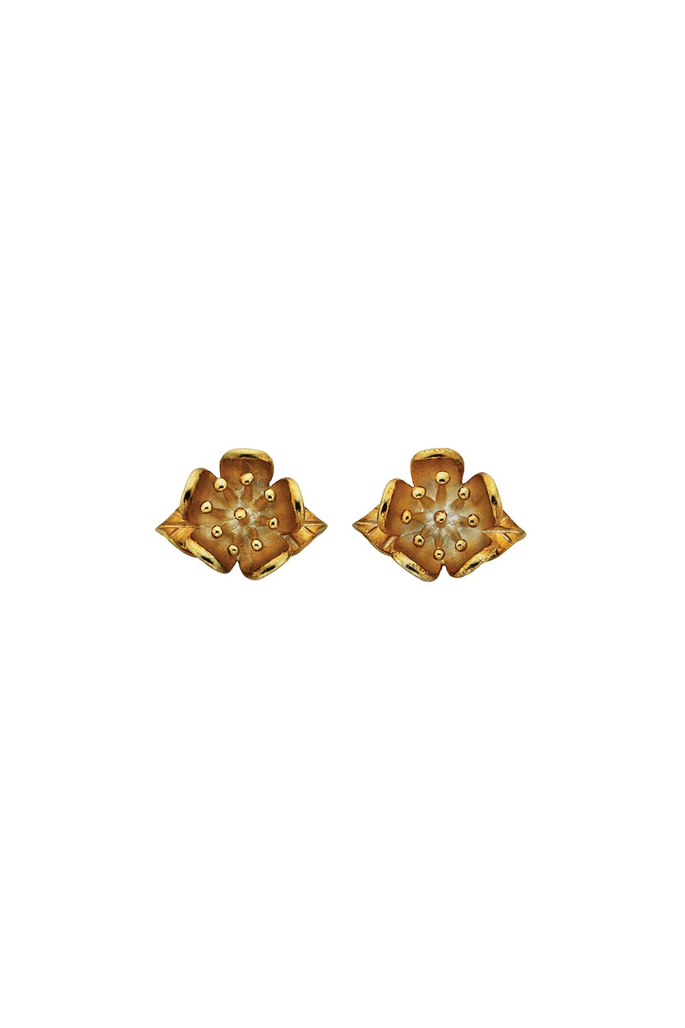 Single Flower Studs Gold