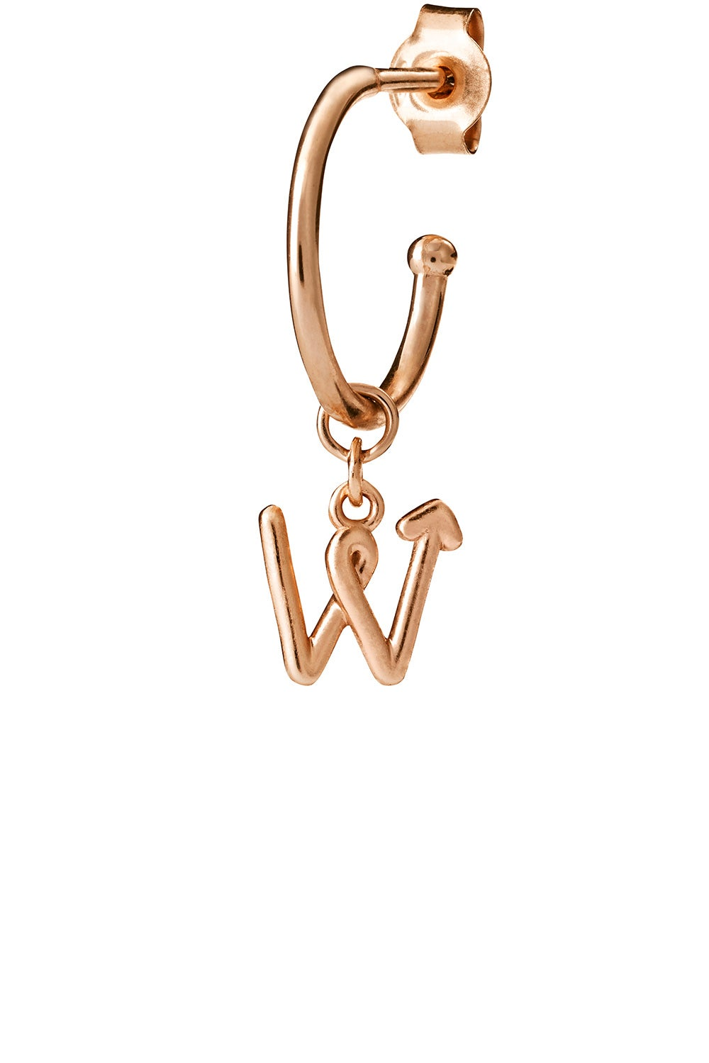 Single Initial Hoop Rose Gold