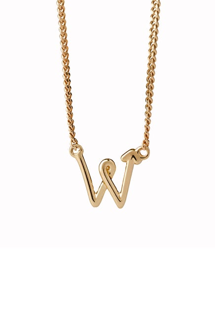 Single Initial Necklace Gold