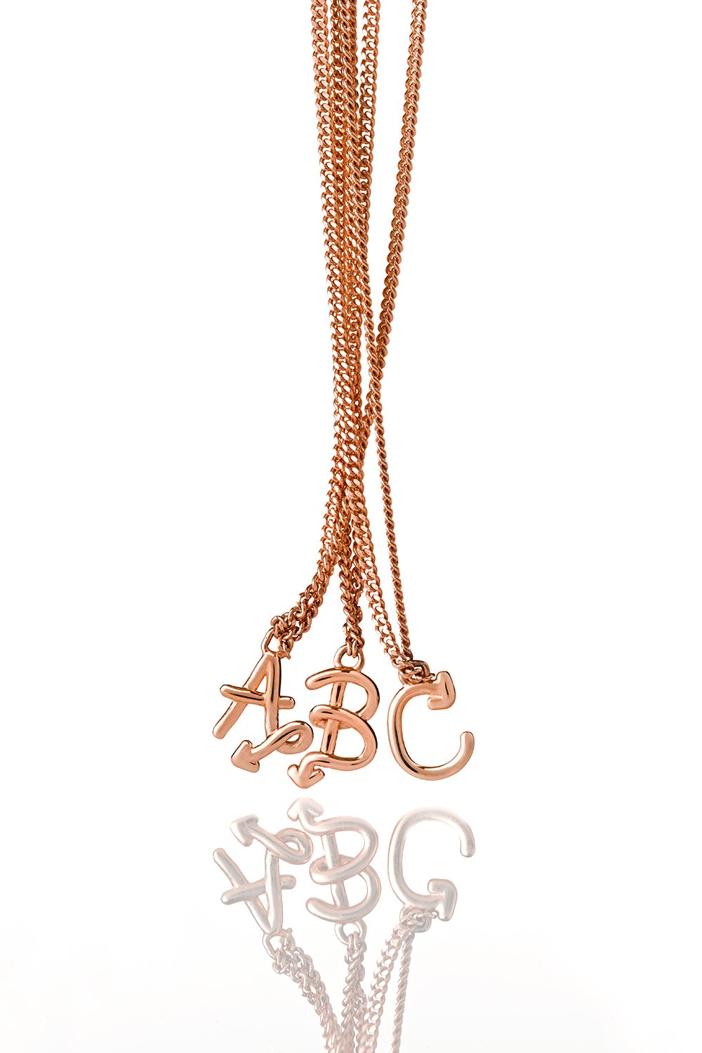 Single Initial Necklace Rose Gold