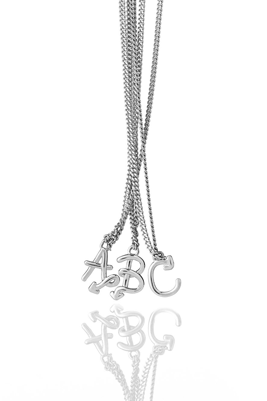 Single Initial Necklace Silver
