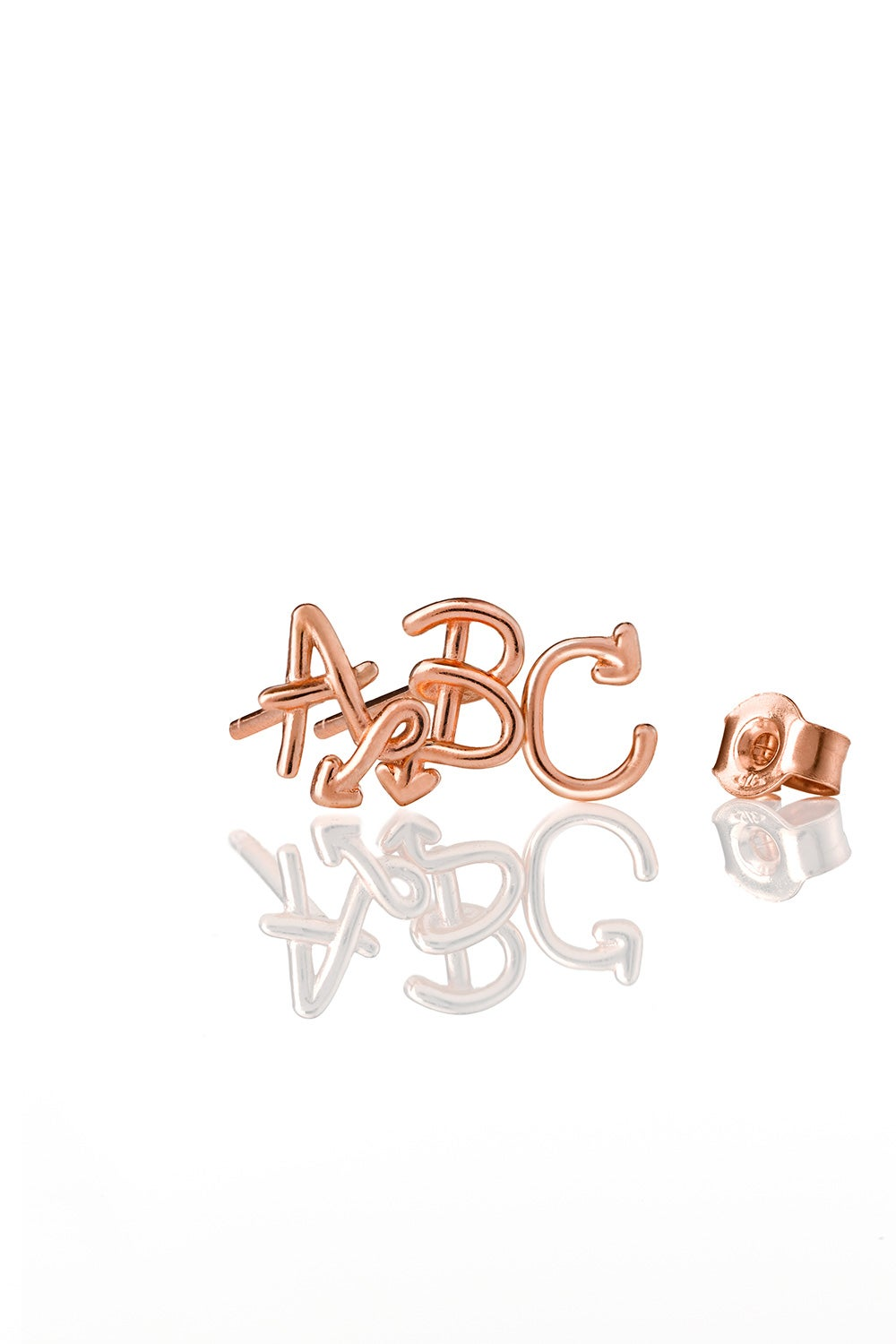 Single Initial Stud Rose Gold