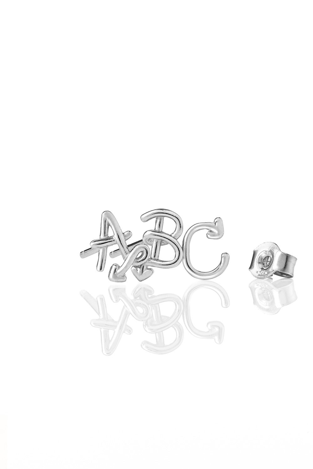 Single Initial Stud Silver