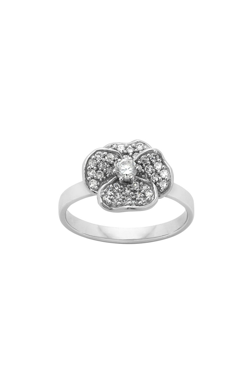 Single Pansy Diamond Ring, 9ct White Gold. .43ct Diamond