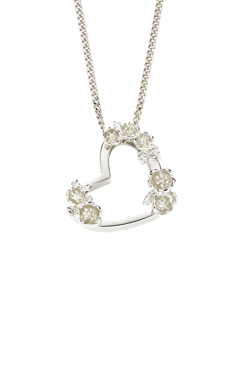 Small Botanical Heart Necklace Silver