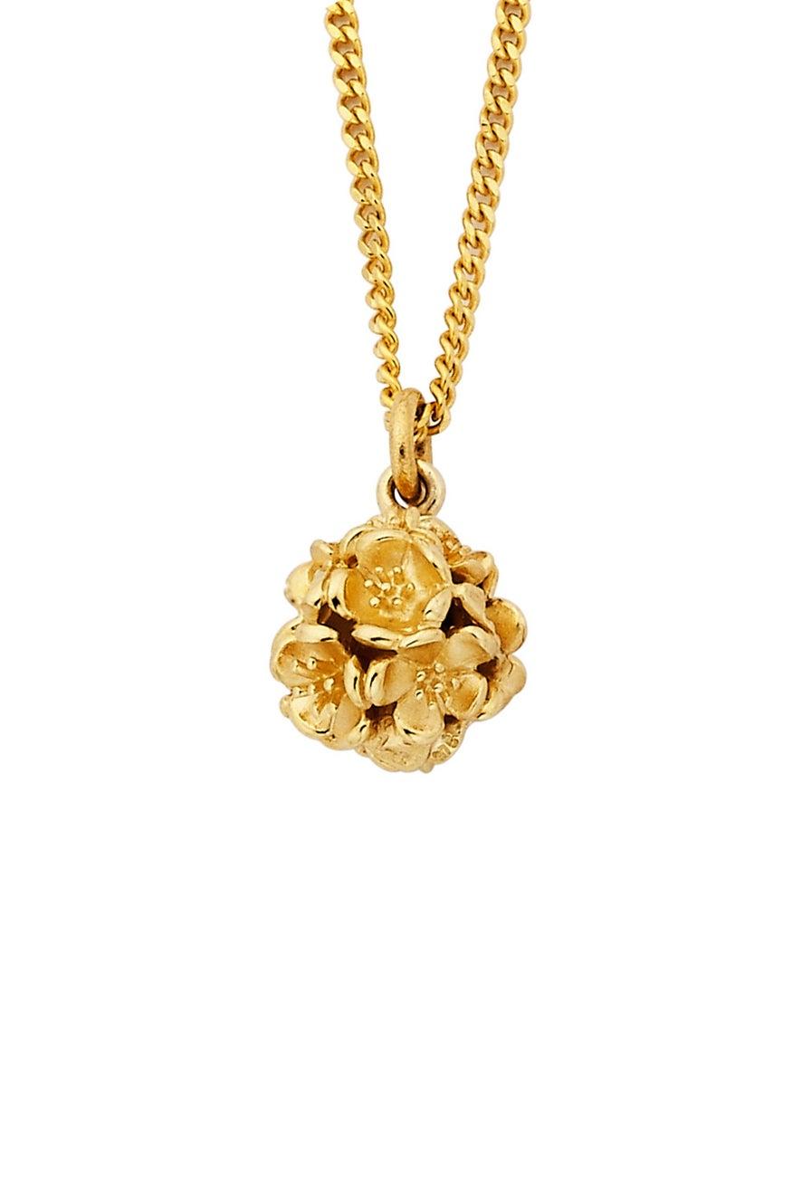 Small Flower Ball Pendant Gold