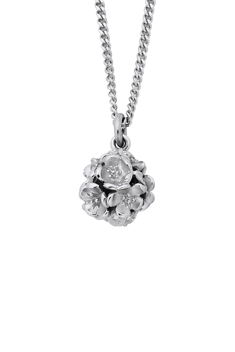 Small Flower Ball Pendant Silver