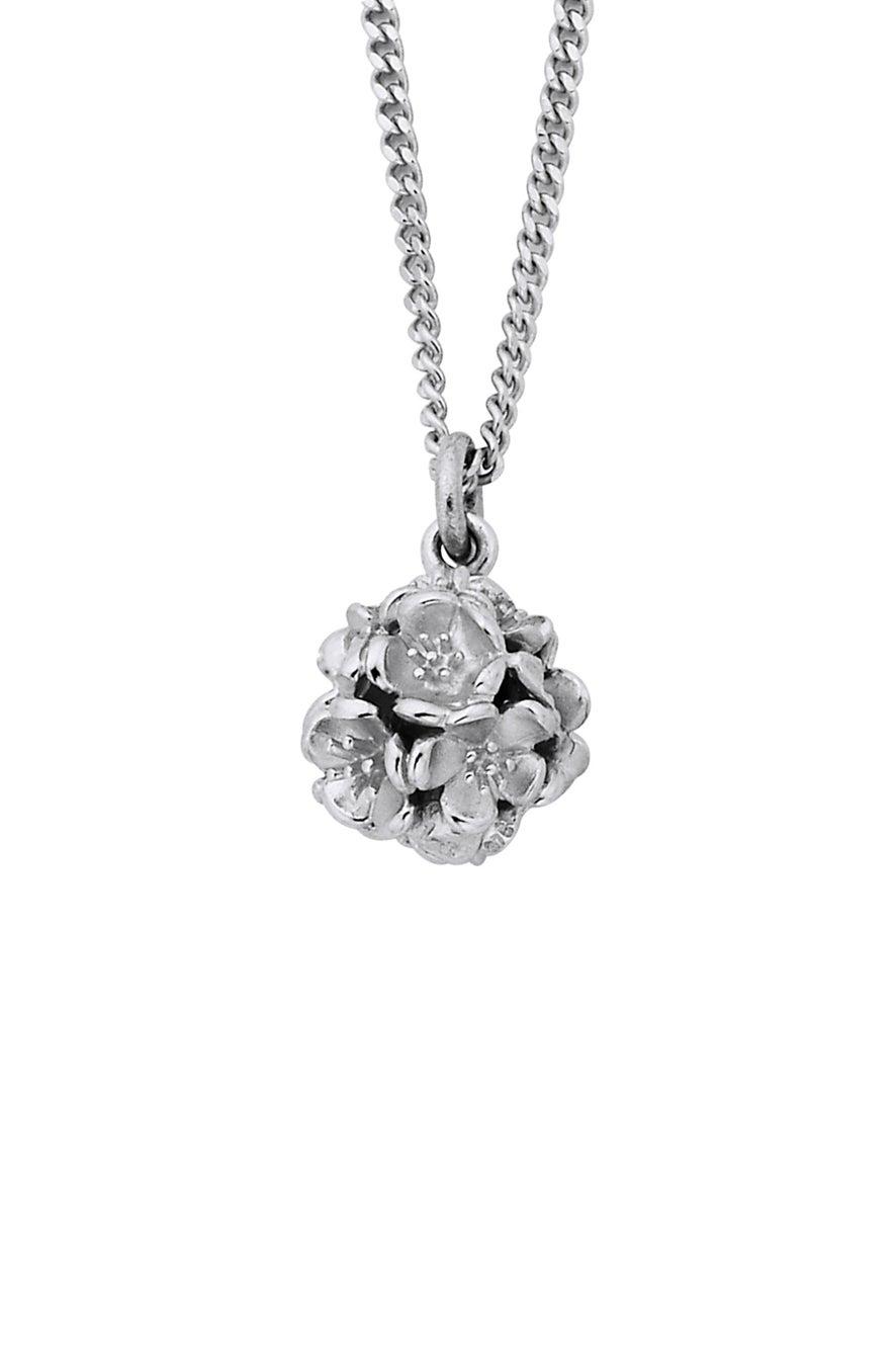 Small Flower Ball Pendant Silver