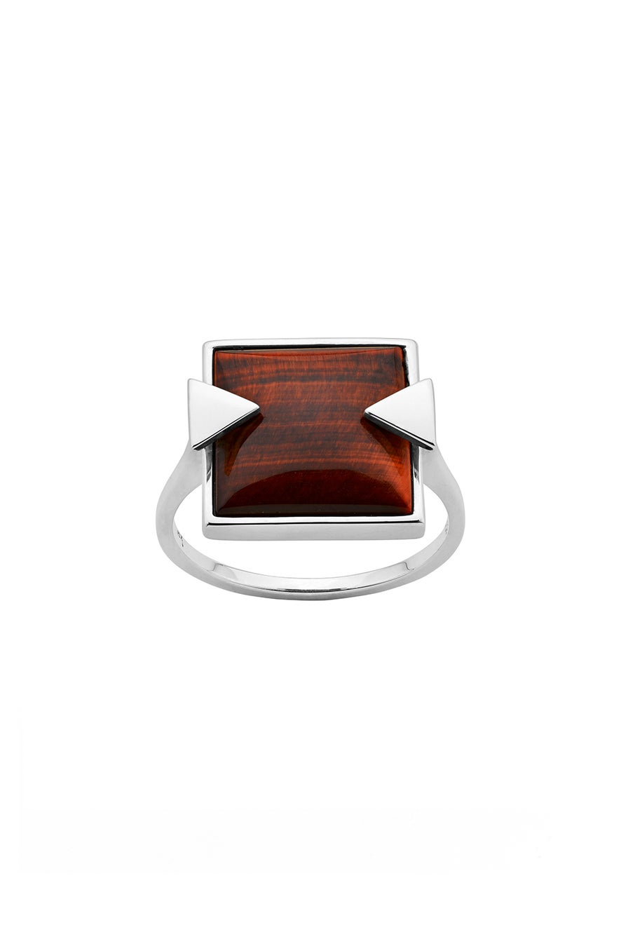 Solar Flare Ring Tiger's Eye Silver