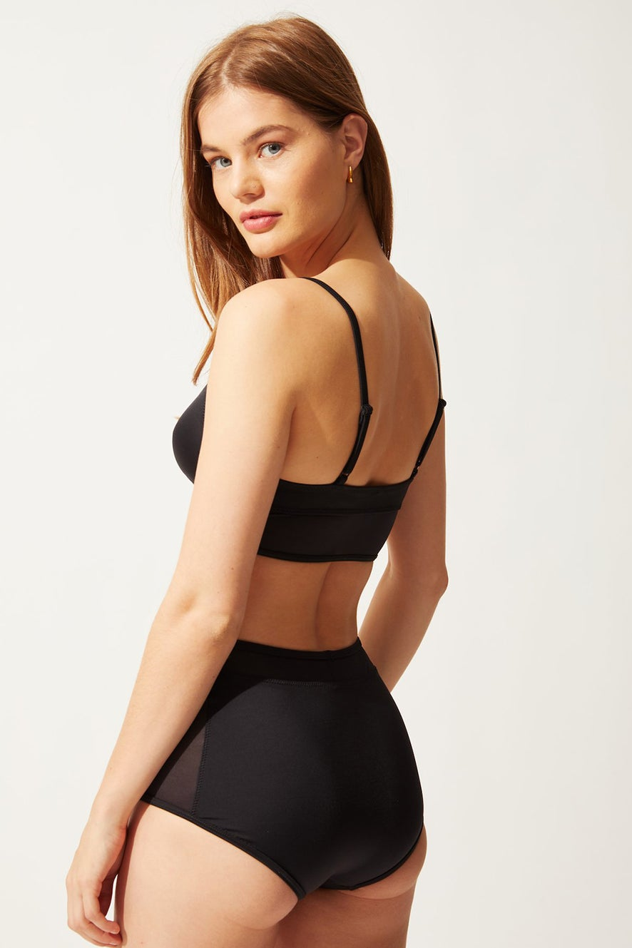 Solid and Striped The Brigitte with Mesh Bottom Black