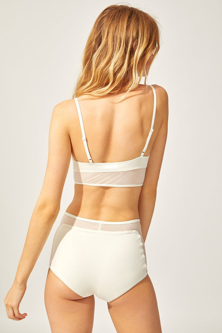Solid and Striped The Brigitte with Mesh Bottom Cream