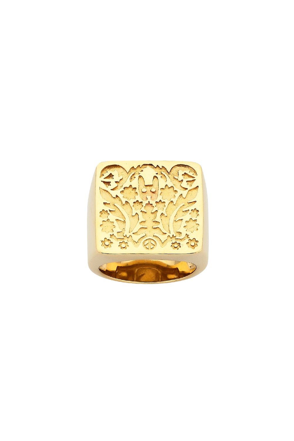 Square Filigree Ring Gold