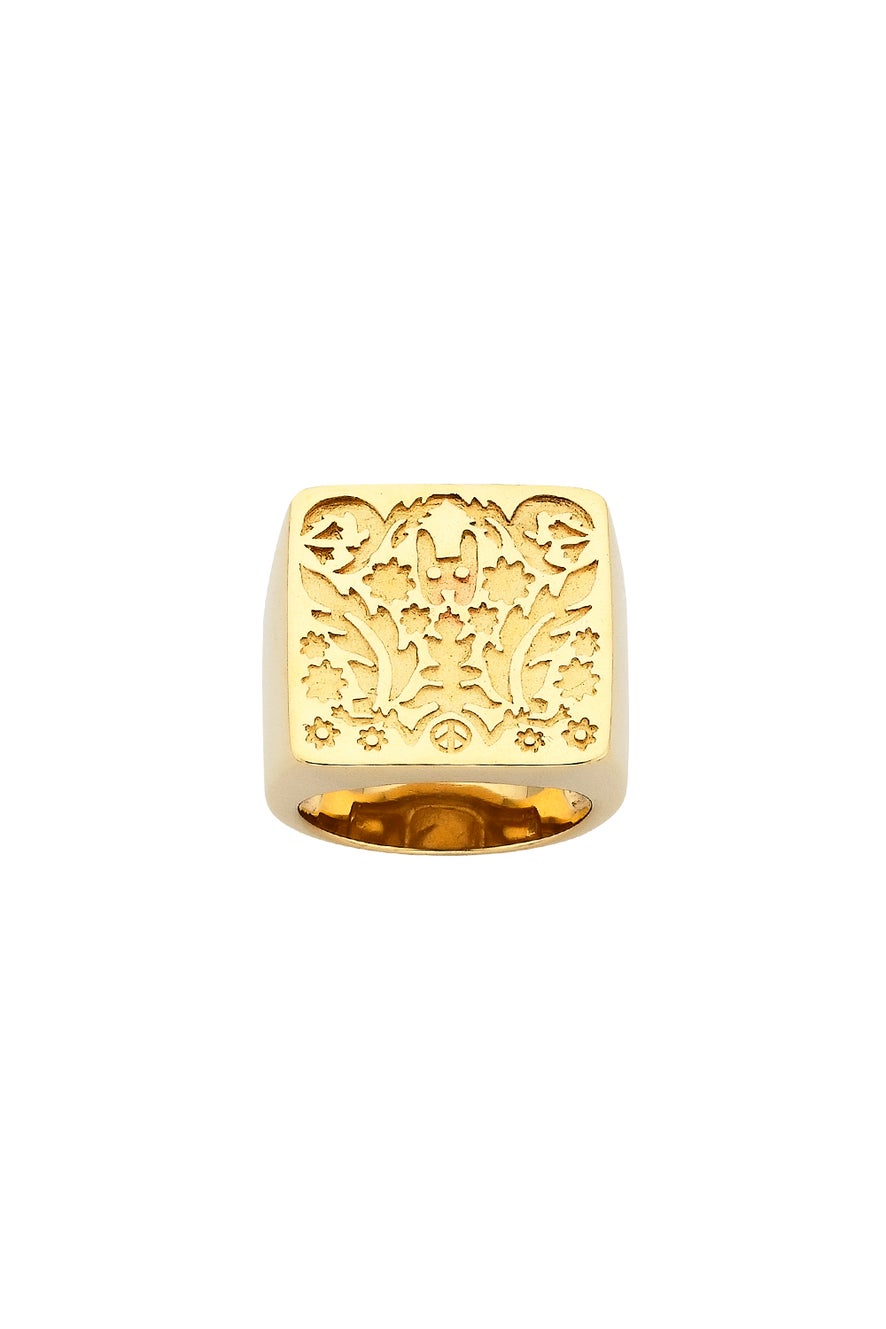 Square Filigree Ring Gold