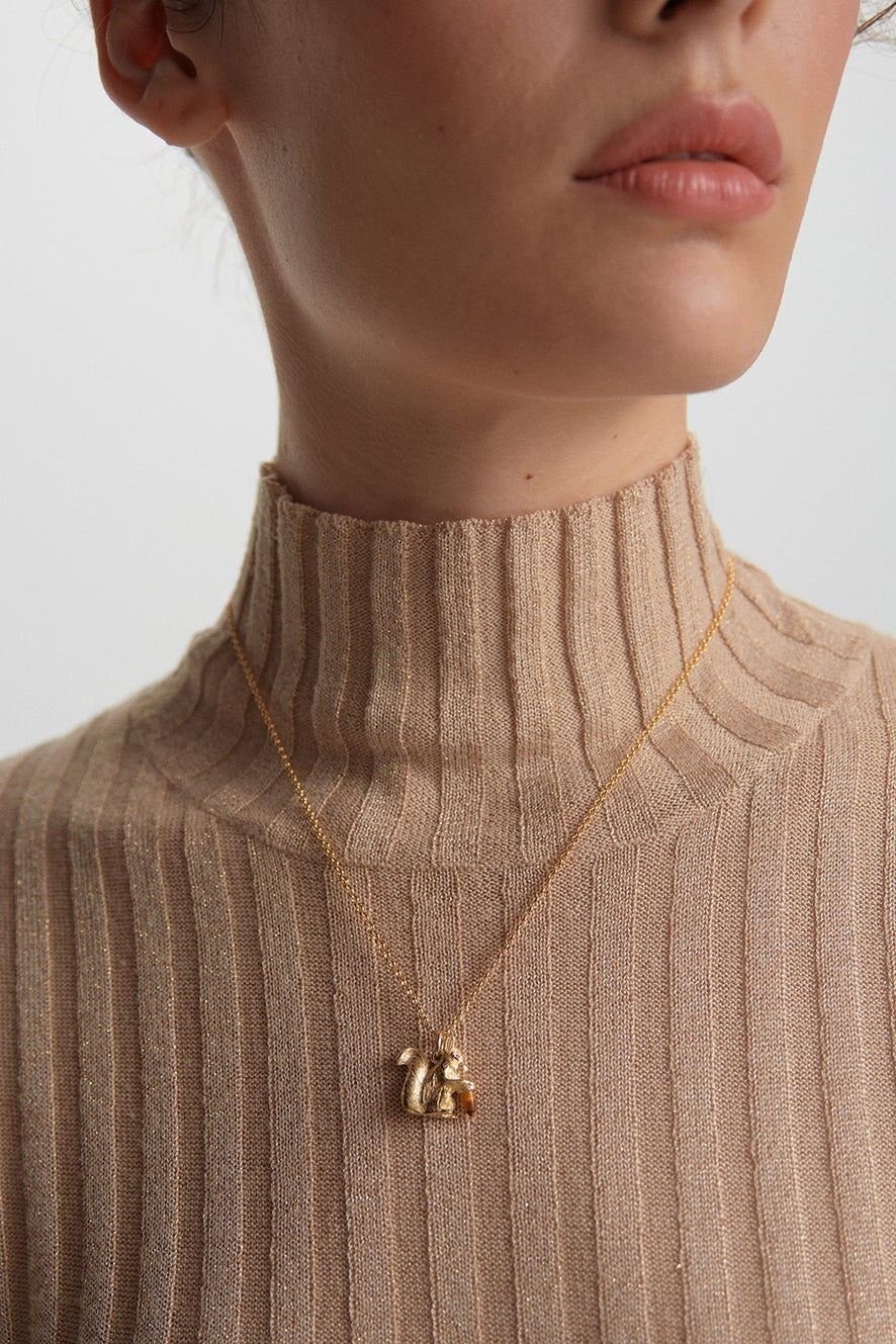 Squirrel Necklace Gold with Tiger's Eye and Black Spinel