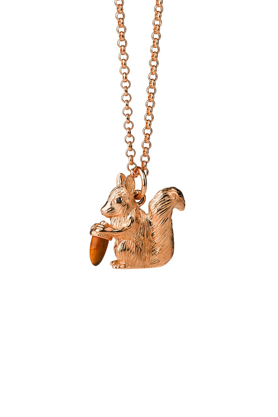 Squirrel Necklace Rose Gold with Tiger's Eye and Black Spinel