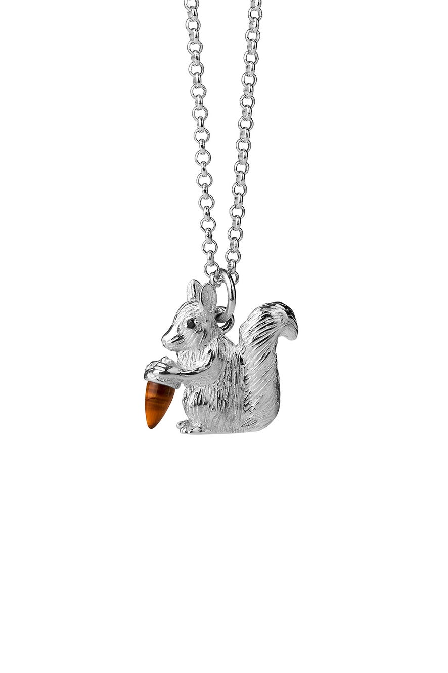 Squirrel Necklace Silver with Tiger's Eye and Black Spinel