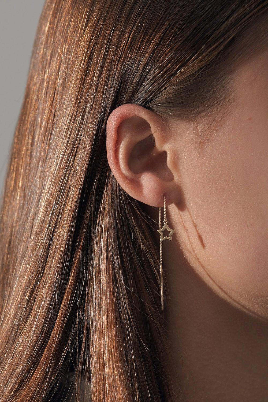 Star Thread Earrings Gold