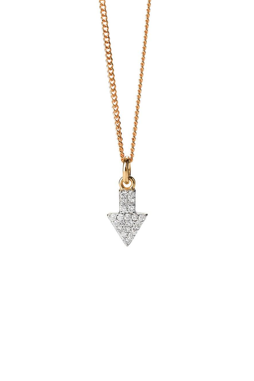 Superfine Arrow Necklace, 9ct Gold, .13ct Diamond
