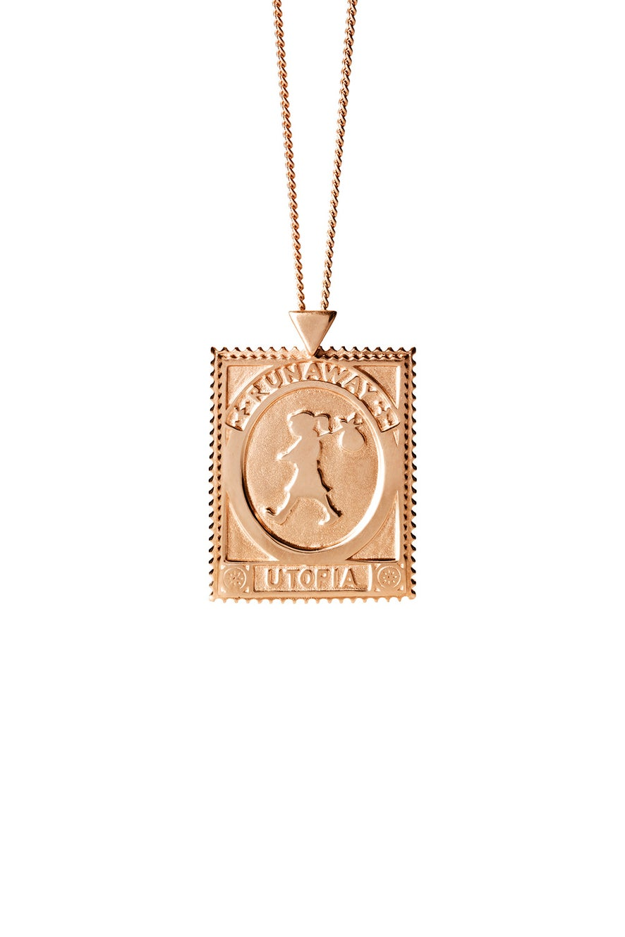 Utopia Stamp Necklace Rose Gold