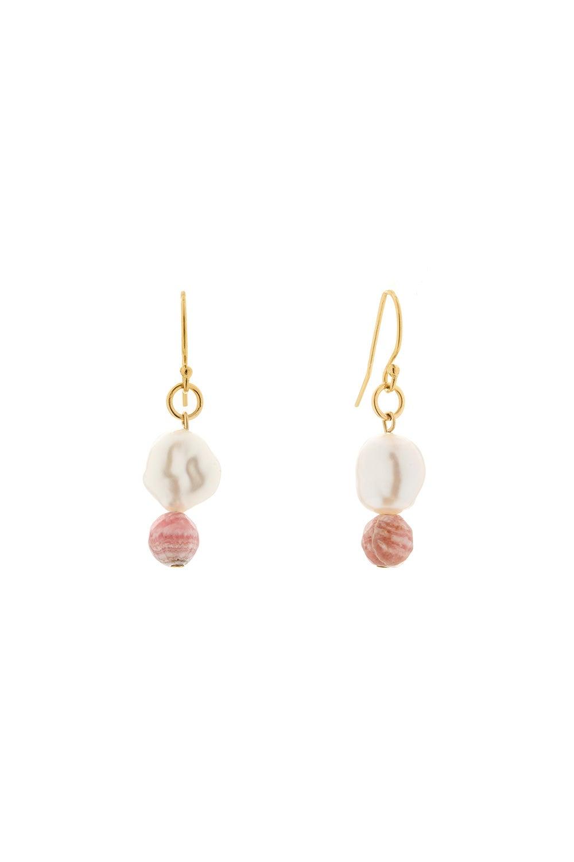Vania Everyday Hook Pearl and Rhodochrosite Earrings