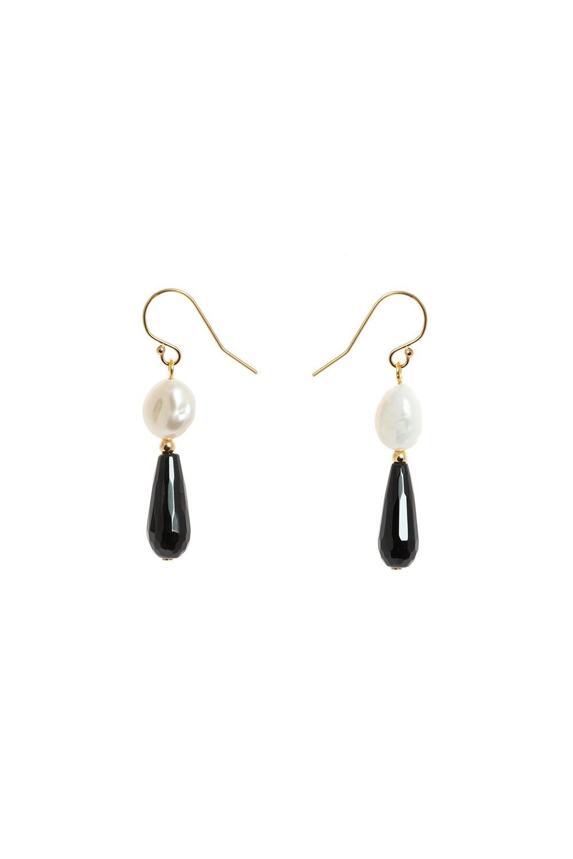 Vania Everyday Hook Pearl and Black Agate Earrings