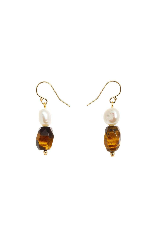 Vania Everyday Hook Pearl and Tiger's Eye Earrings