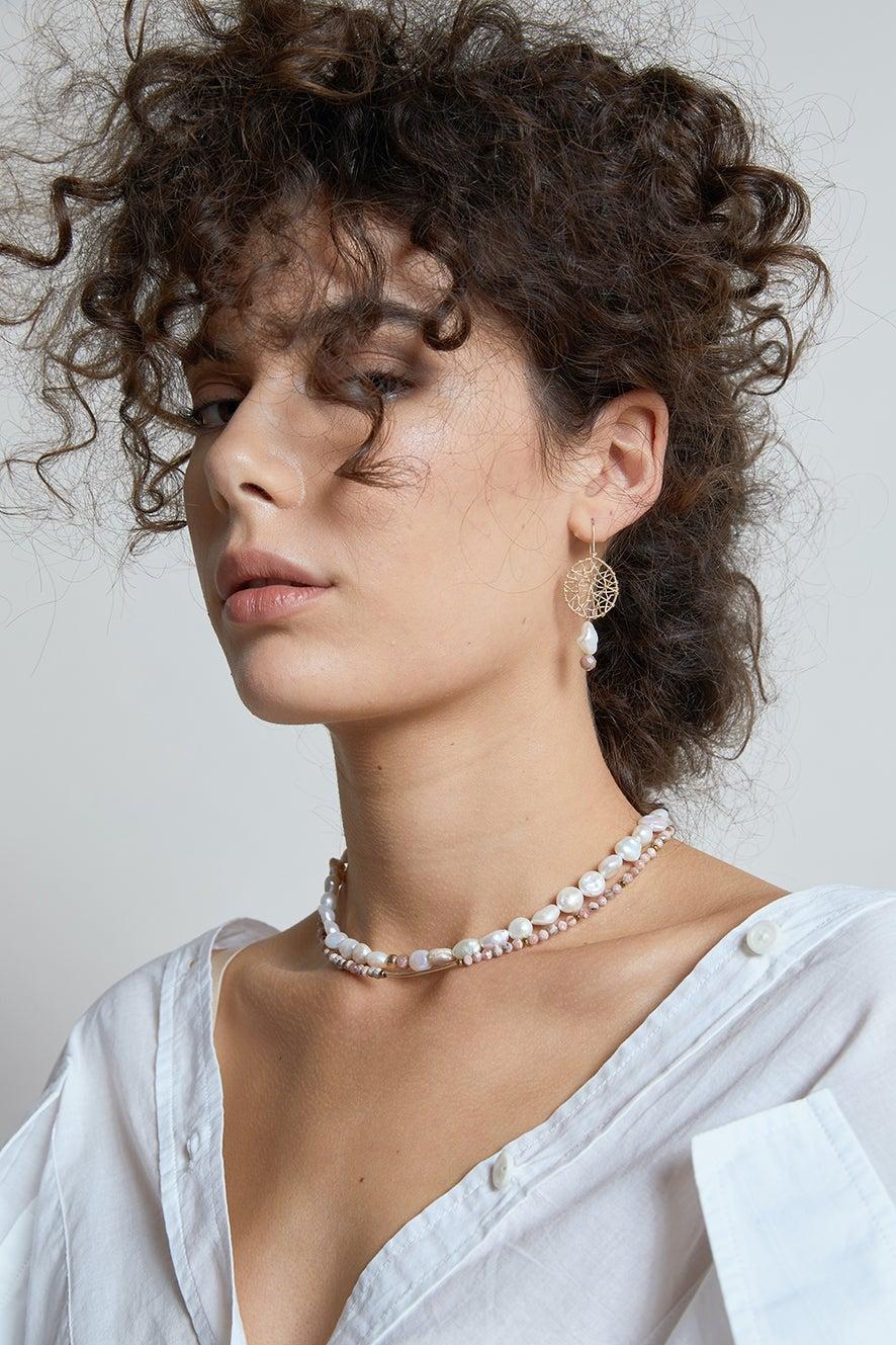 Vania Midi Daydreamer Pearl and Rhodochrosite Earrings