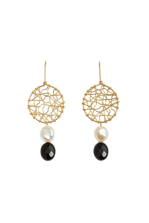 Vania Midi Daydreamer Pearl and Black Agate Earrings