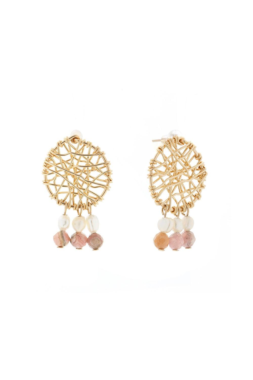 Vania Stud Daydreamer Pearl and Rhodochrosite Earrings