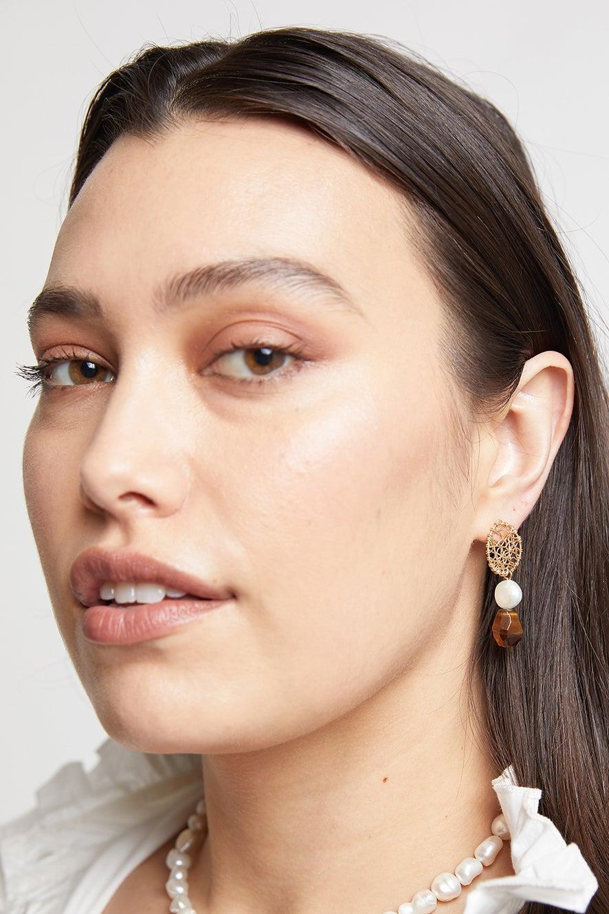 Vania Stud Daydreamer Pearl and Tiger's Eye Earrings
