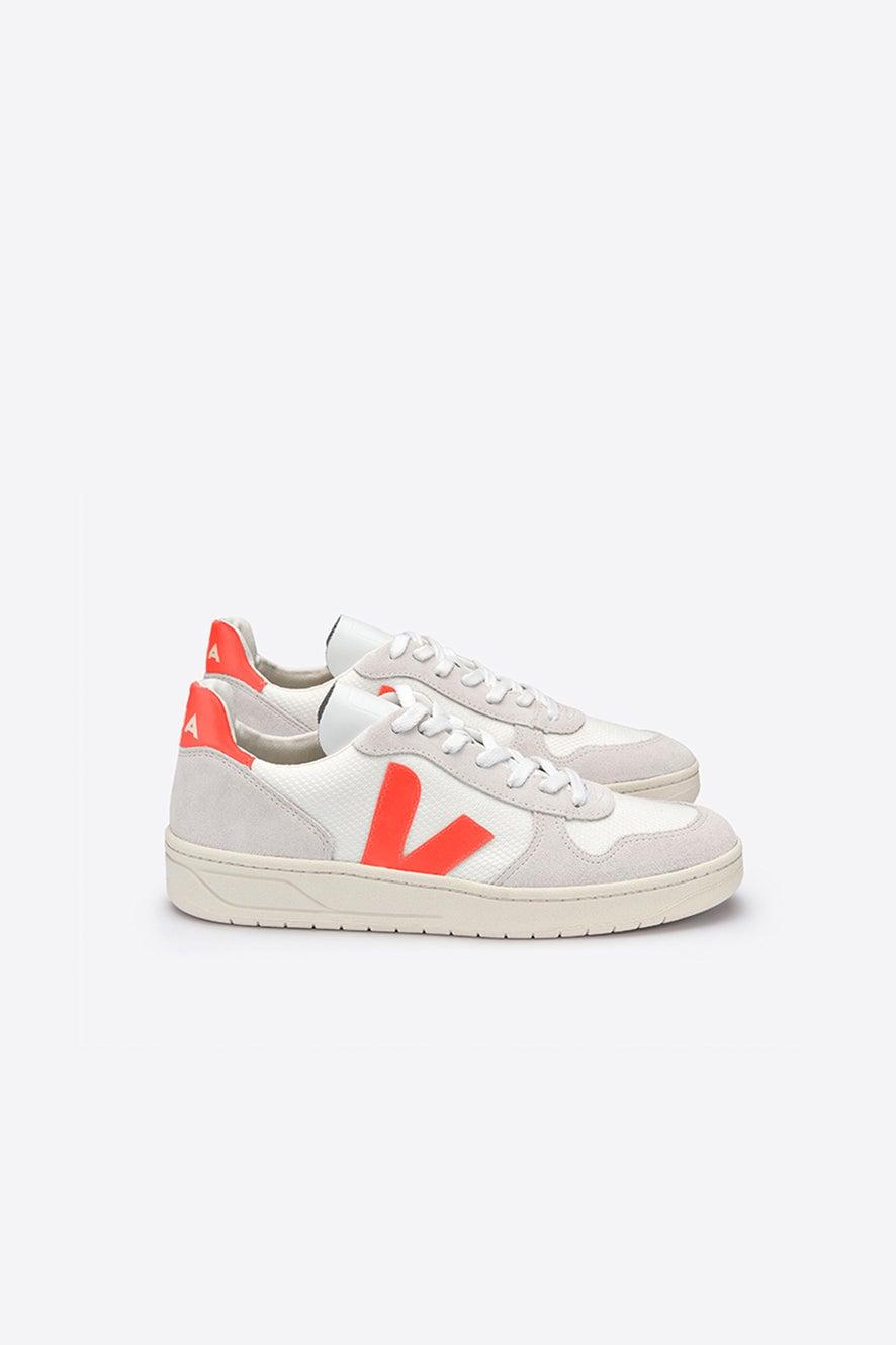 Veja V-10 White/Natural/Orange Fluo
