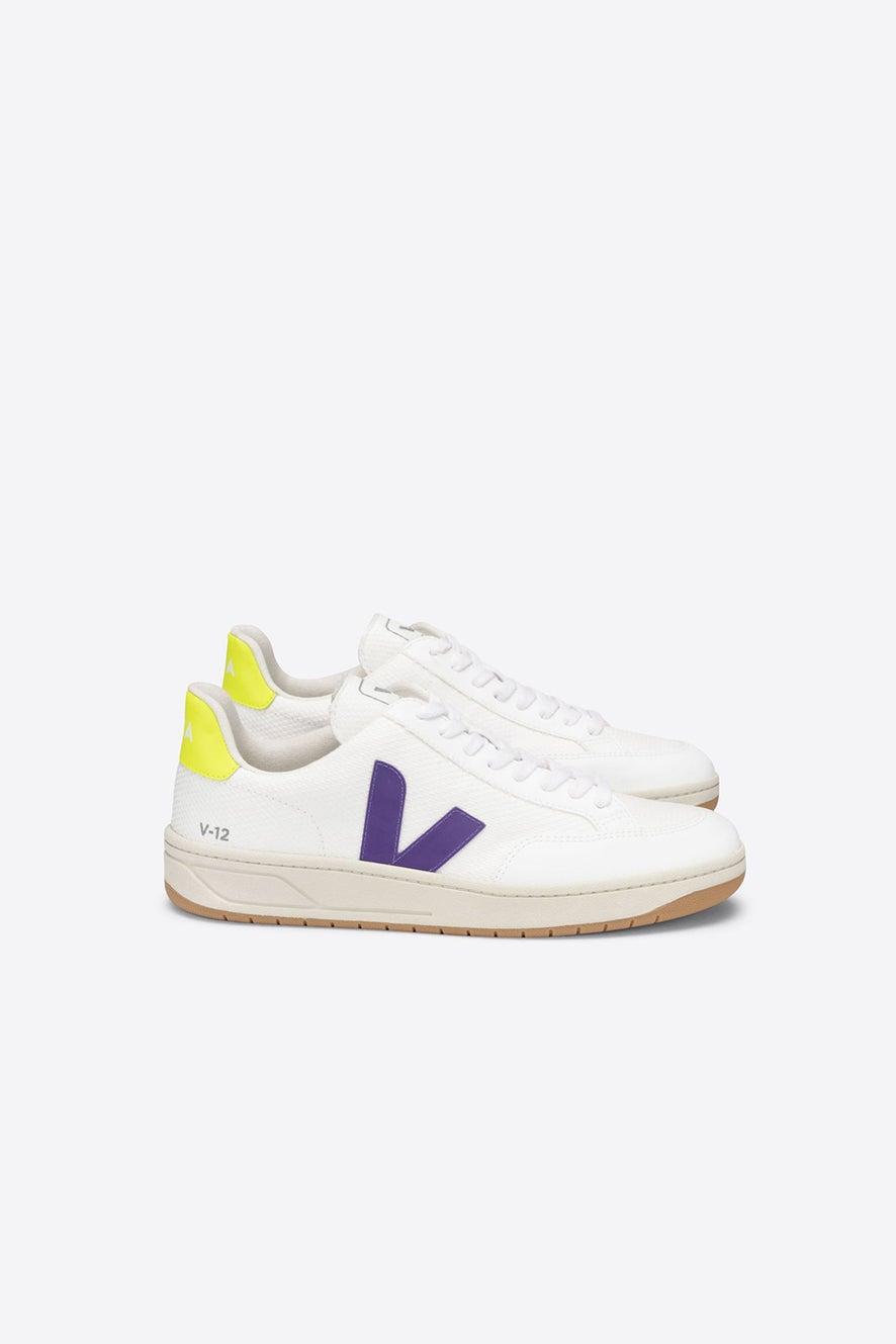 Veja V-12 White/Purple/Jaune Fluo