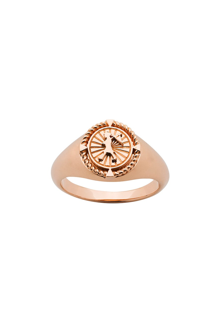 Voyager Signet Ring Rose Gold