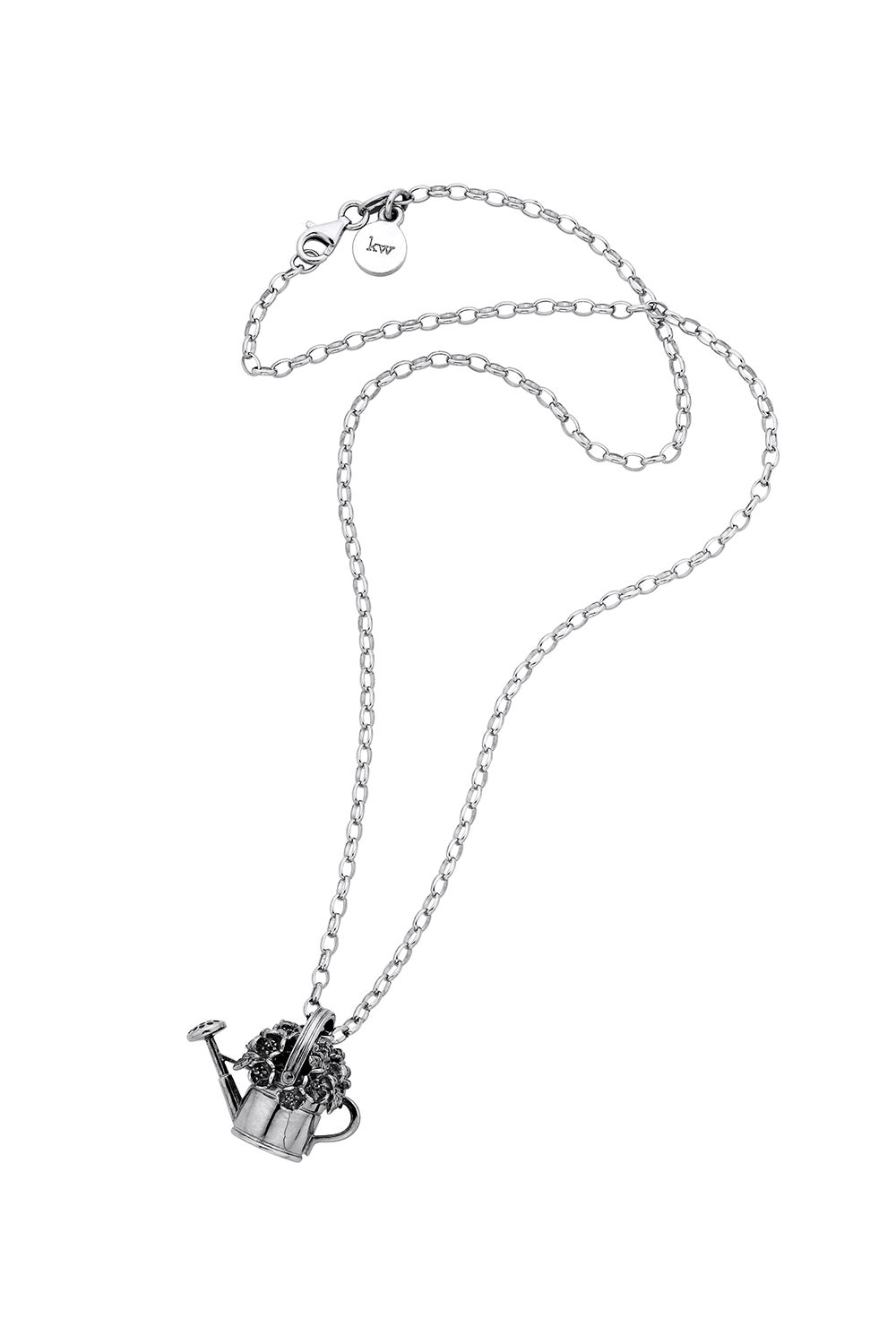 Watering Can & Flowers Pendant Silver