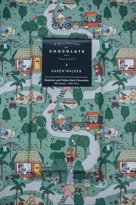 Wellington Chocolate Factory x Karen Walker Hazelnut and Feijoa Dark Chocolate