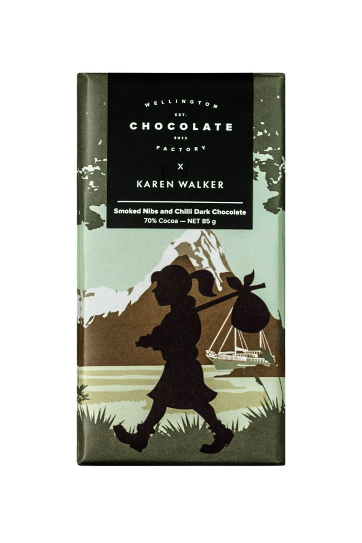 Wellington Chocolate Factory x Karen Walker Smoked Nibs and Chilli Dark Chocolate