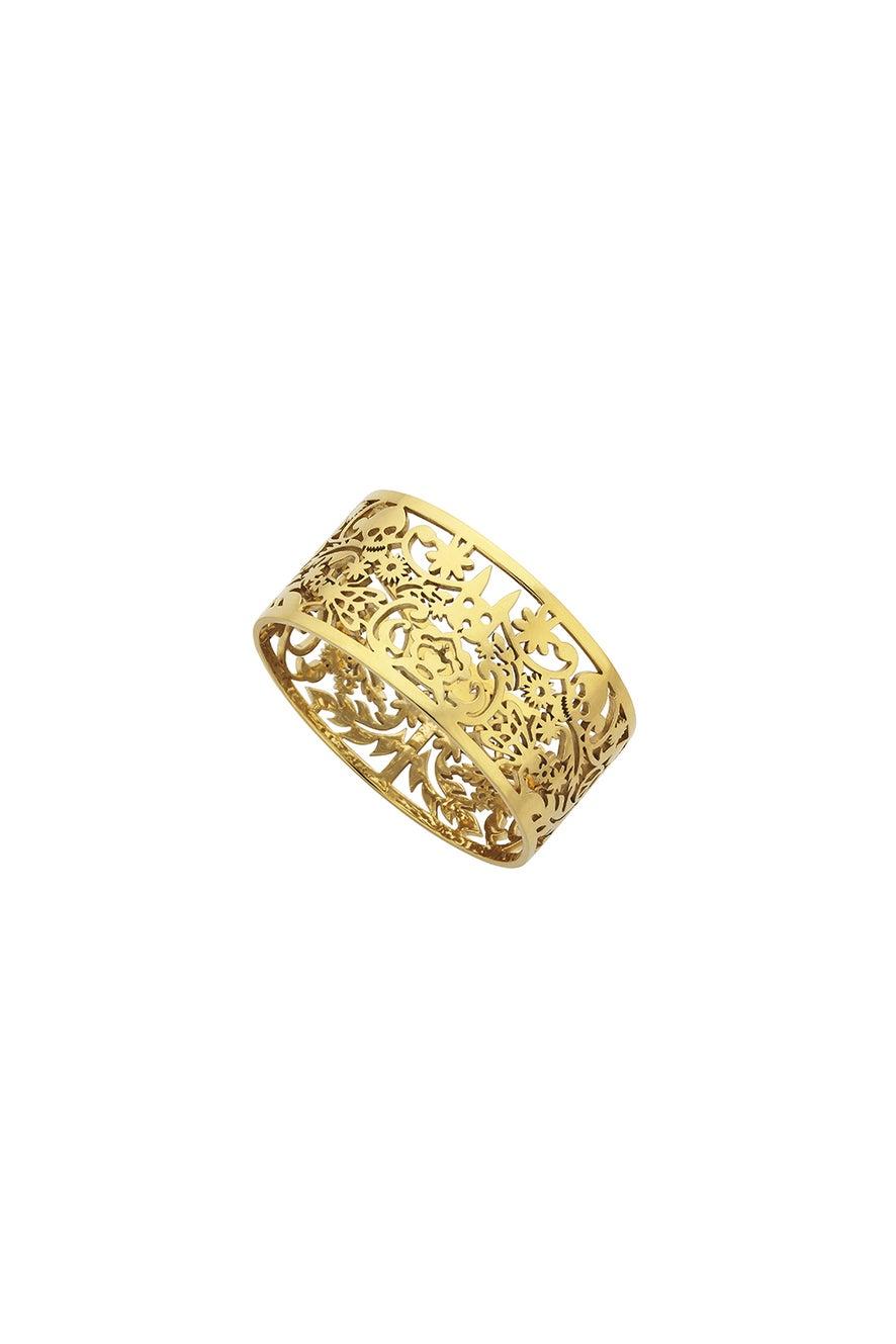 Wide Filigree Bangle Gold