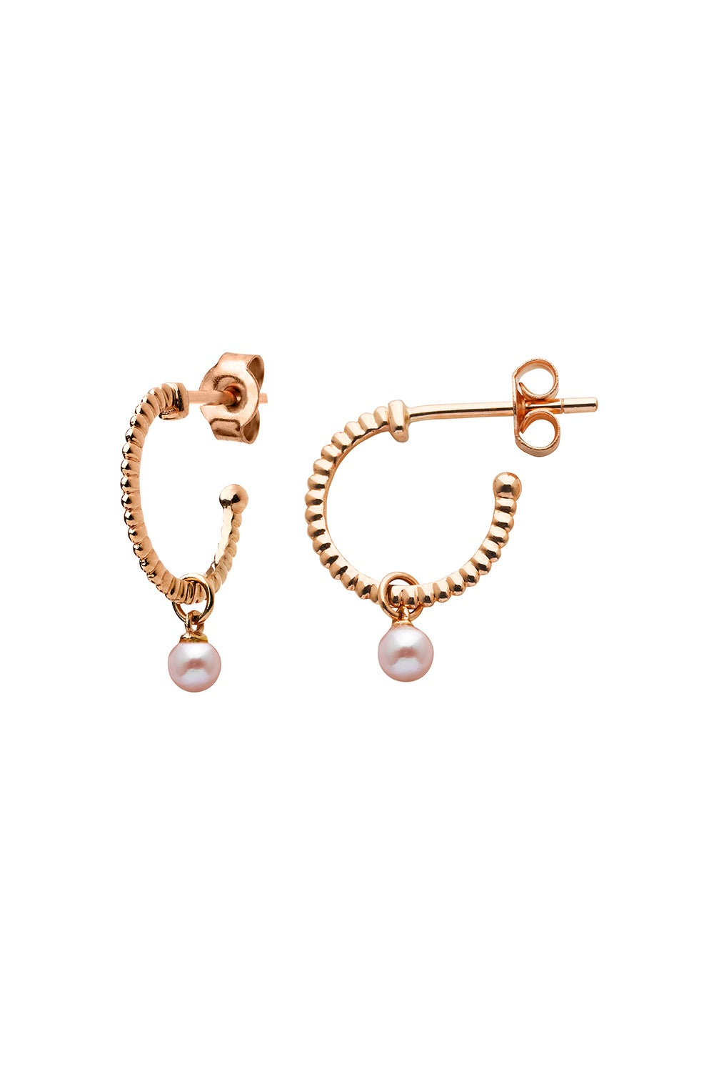 Wisdom Pearl Hoops Rose Gold